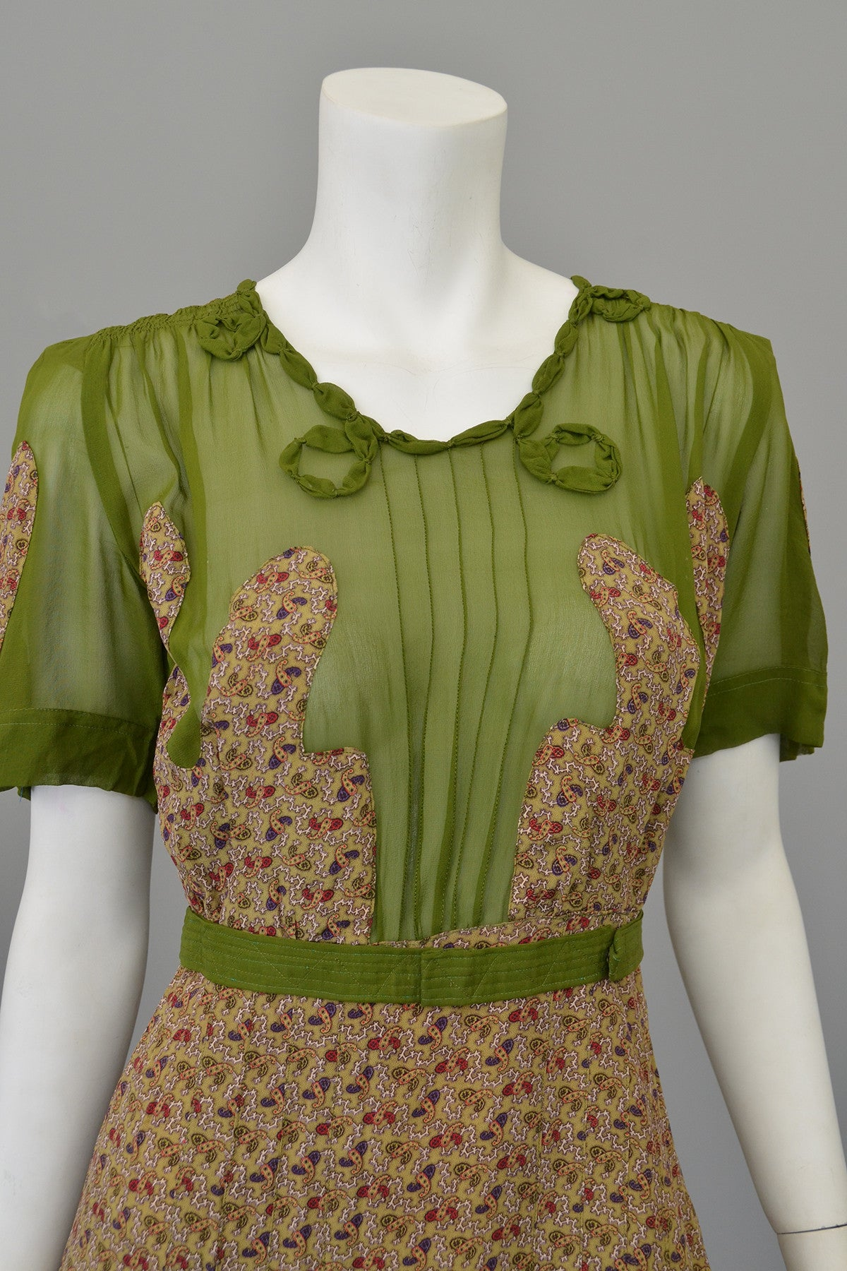 1930s Novelty Print Olive Green Chiffon Appliqué Dress