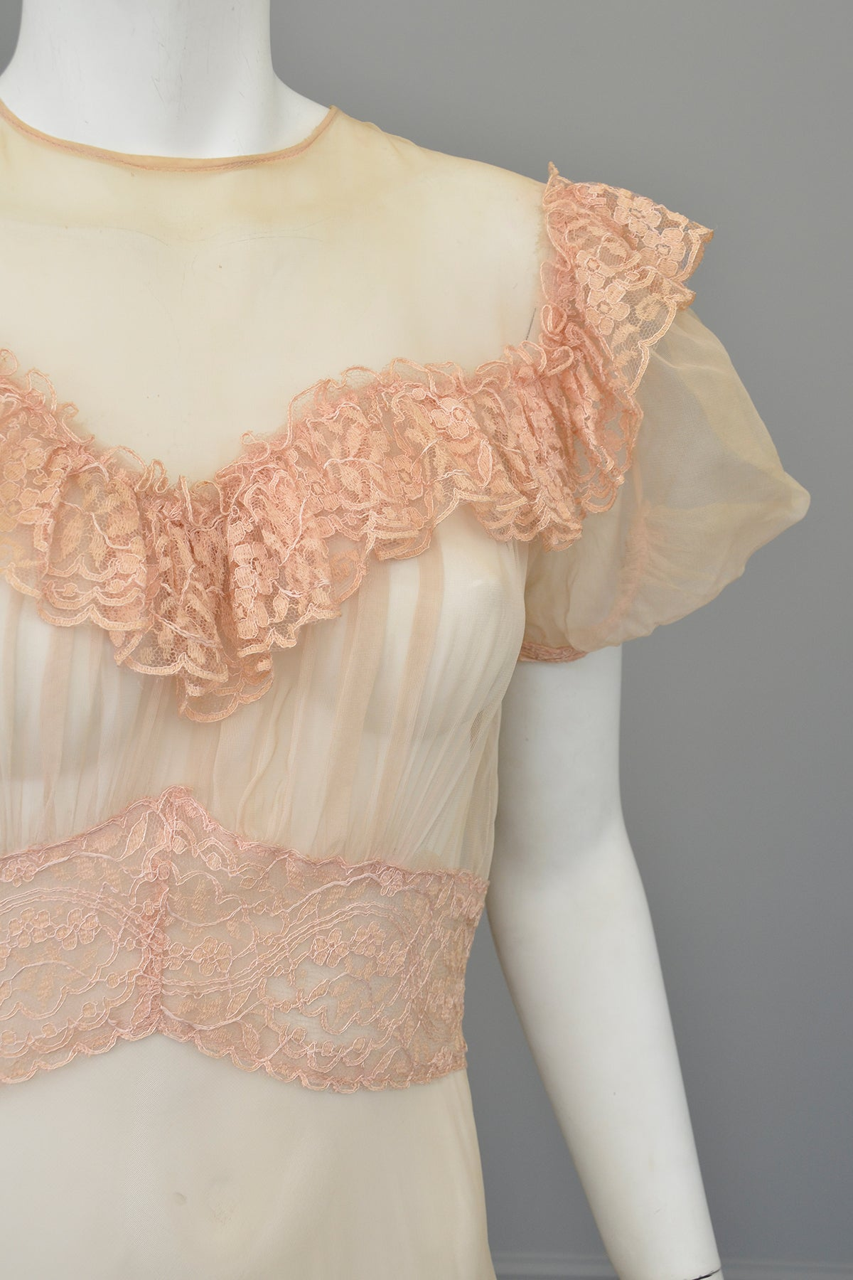 1930s Shell Pink Lace Ruffles Puff Sleeves Gown | Mesh Netting | Restoration or Study