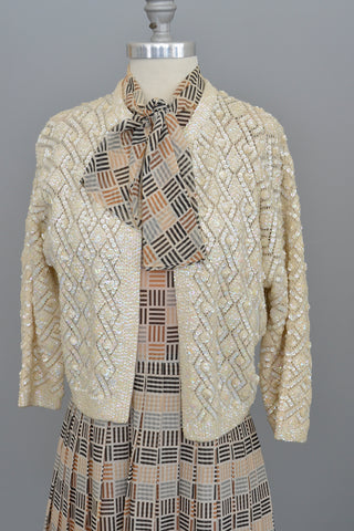 Retro 1950s Cream Geometric Knit Wool Sparkly Sequin Sweater
