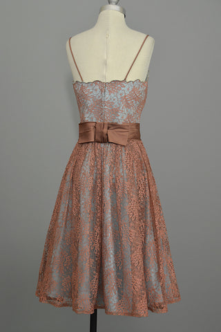 1950's 60's Vintage Lace Prom Party Dress Terra Cotta Lace over Aqua Taffeta