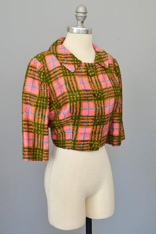 1950s Hot Pink + Olive Green Plaid Bolero Blazer