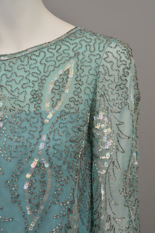 1960s Aqua Beaded Sequins MOD Party Dress