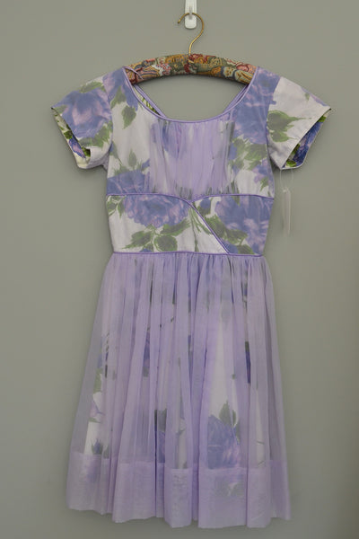 RESERVED 1960s Lavender Floral Print Chiffon Overlay Party Dress