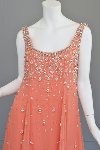 Vtg 1970s Coral Beaded Chiffon A-Line Trapeze Dress