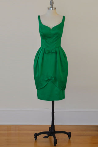 1960's Emerald Green Satin Bombshell Vintage Party Dress with Petal Skirt