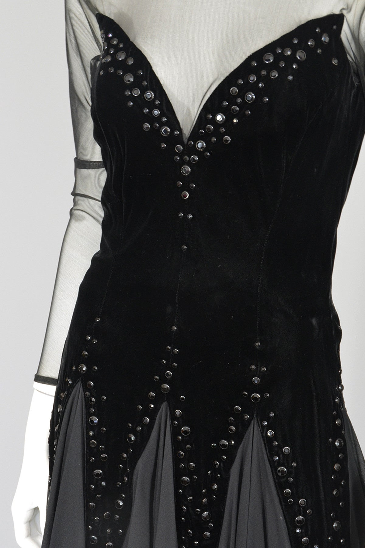 Lillie Ruben Black Velvet Studded Chiffon Party Dress
