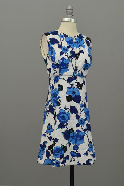 Vintage 1960s Blue on White Floral Novelty Print Mini Babydoll Dress, XS