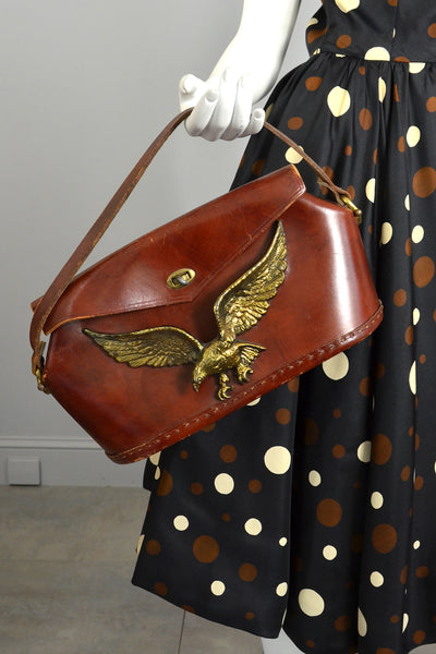 Vintage Cognac Leather Handbag Purse with heavy Metal American Eagle Emblem on front