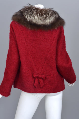 Vintage 60s Silver Tipped Fox Fur Trim Cranberry Red Boucle Jacket