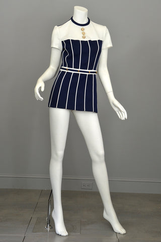 Vintage Lilli Ann Navy Blue and White Nautical Mini Tunic