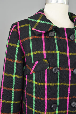 Neon Pink and Green Windowpane Mod Vintage Coat