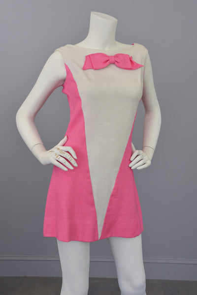 Vintage 1960s Pink White Colorblock Twiggy Micro Mini Dress RESERVED