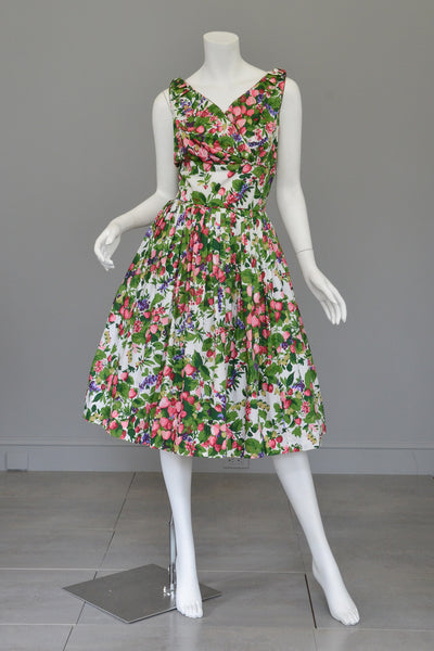 Vintage 50s 60s Strawberry Novelty Print Fit and Flare Dress