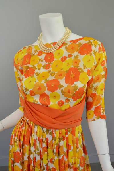 1960s Sunshine Yellow and Orange Retro Flower Print Vintage Party Dress Mad Men