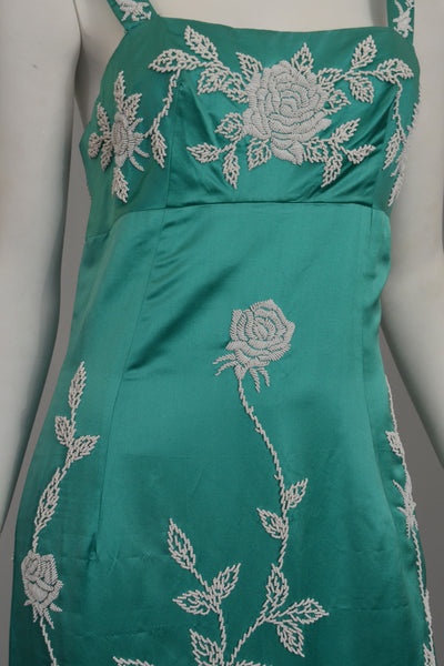 Aqua Silk Sheath Dress with Intricate Seed Bead Floral Design
