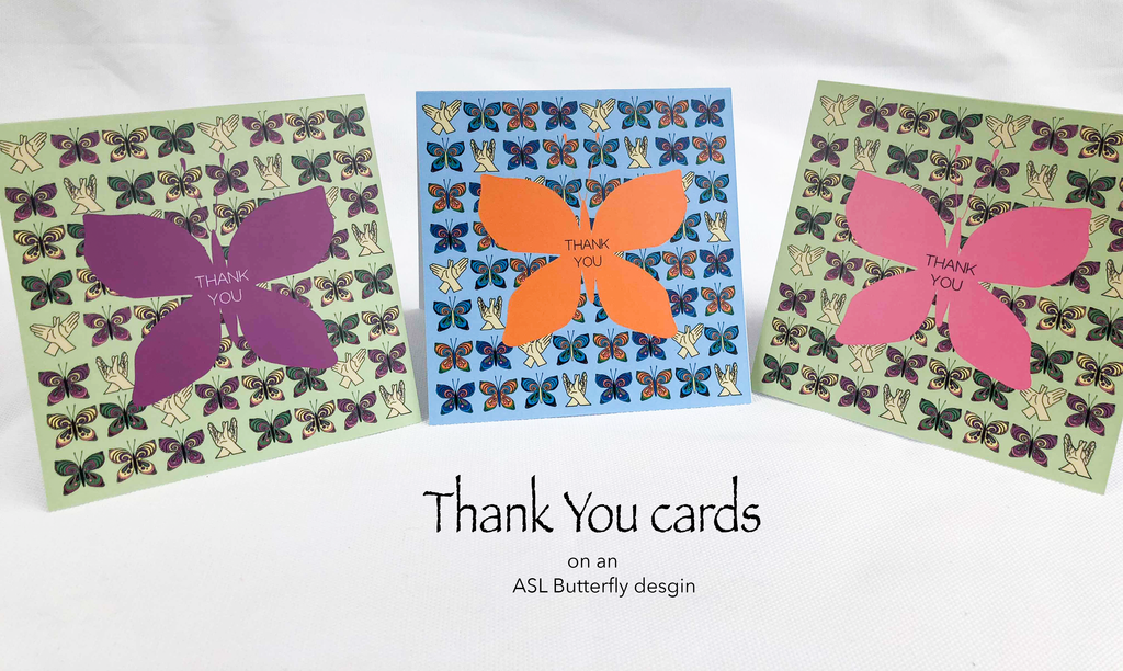 Thank You with ASL Butterfly background greeting cards
