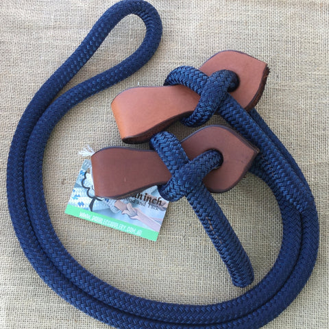 Ballynahinch Tack Rope Joined Reins with Slobber Straps - Navy