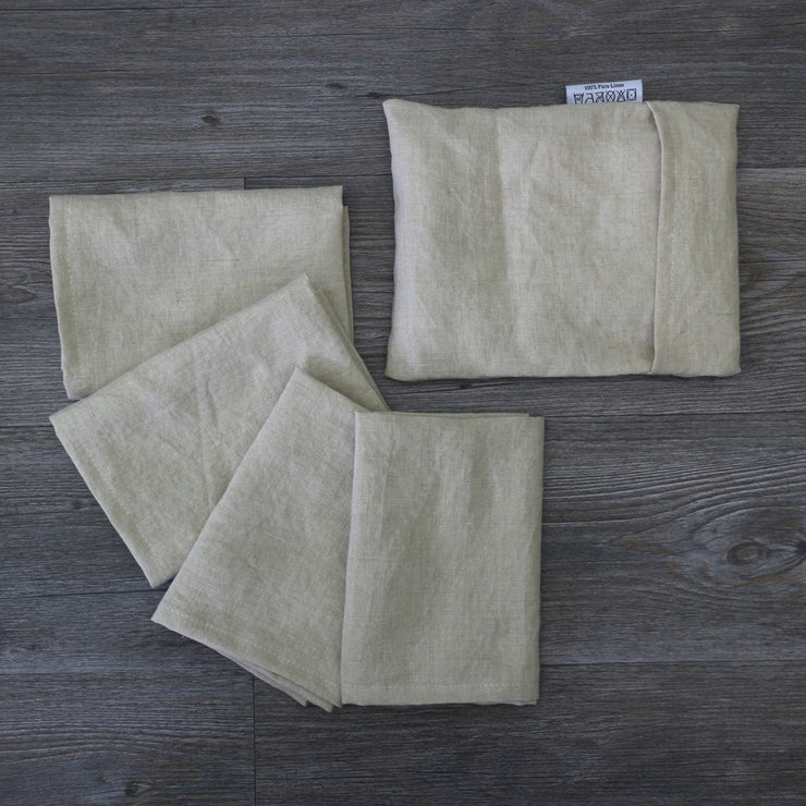 Linen plain Table Napkins With Pouch Natural