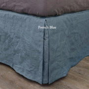 Split-Corner Linen Bedskirt  French Blue