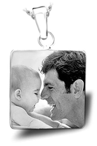 Personalized Photo Engraved Large Square PENDANT