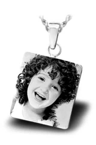 Personalized Photo Engraved Small Square PENDANT