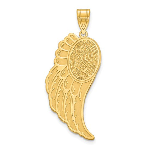 14K Yellow Gold Angel Wing Fingerprint Charm Personalized