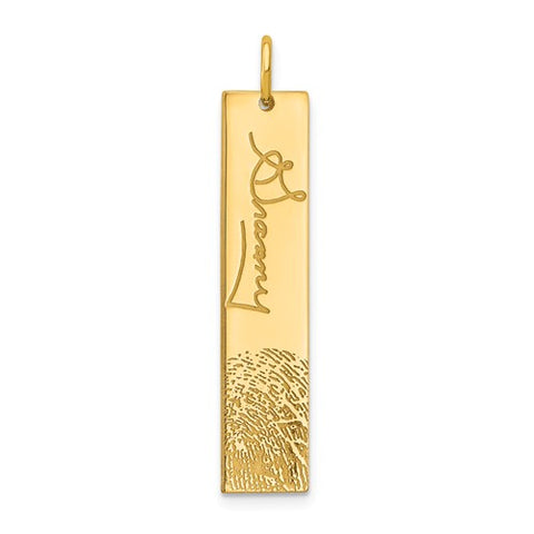 14K Yellow Gold Vertical Signature And Fingerprint  Personalized Charm