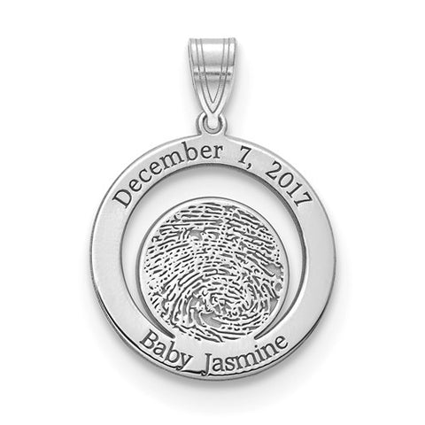 Personalized Sterling Silver Baby Fingerprint And Date Of Birth Charm / Pendant