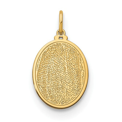 14K Yellow Gold Small Personalized Fingerprint Oval Pendant