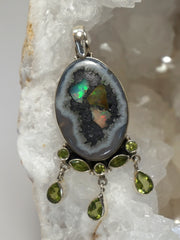 Inlaid Ethiopian Opal and Peridot Pendant 1