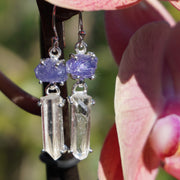 Rough Tanzanite Earring Set 2 with Lemurian Quartz Crystal Points
