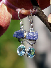Rough Tanzanite Earring Set 3 with Blue Topaz