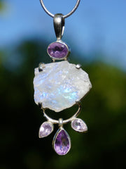 Free-form Organic Moonstone Pendant 2 with Amethyst