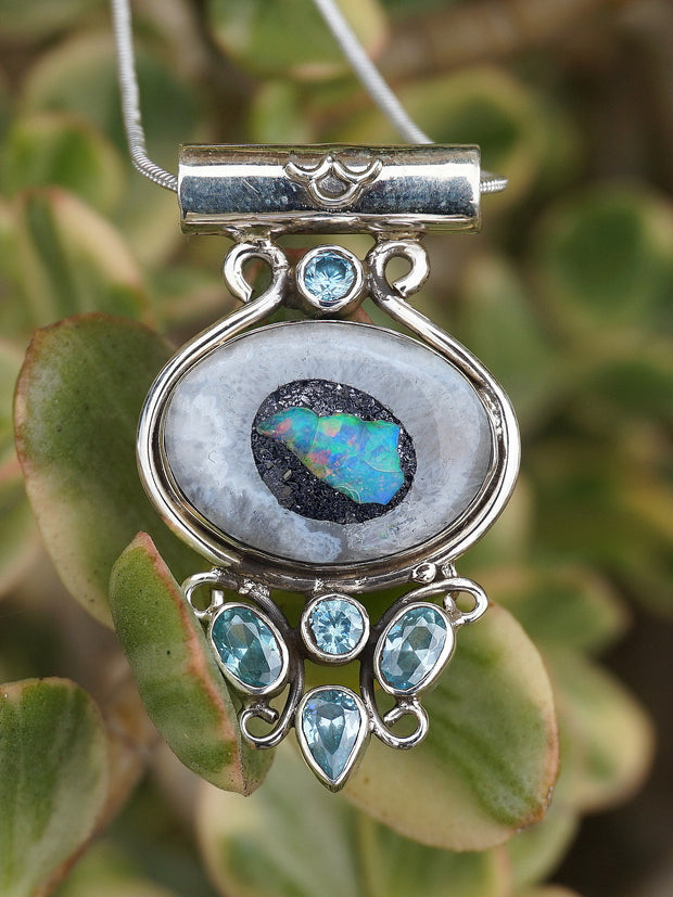 Ethiopian Opal and Blue Topaz Pendant 1