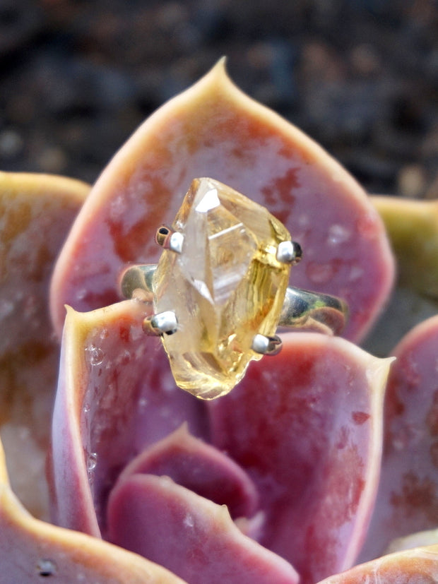 Citrine Rough Quartz Ring 1