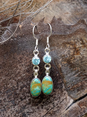 Tibetan Turquoise Earring Set 3 with Blue Topaz