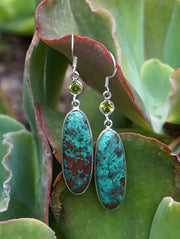 Chrysicolla Earring Set 1 with Peridot