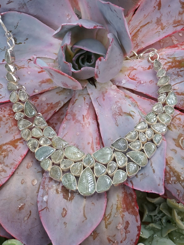 Hand Carved Aquamarine Gemstones Necklace