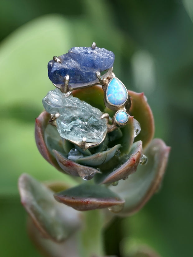 Garden Beauty Ring 2 with Aquamarine and Tanzanite
