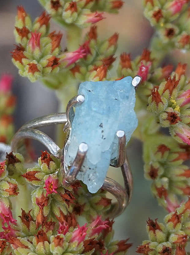 Aquamarine Rough Natural Ring 5