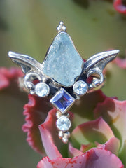 Aquamarine Ring 3 with Amethyst and Blue Topaz