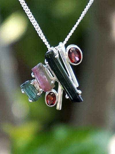 Tourmaline and Garnet Sterling Necklace