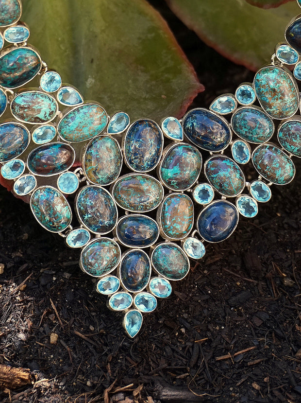 Chrysicolla and Blue Topaz Necklace 1
