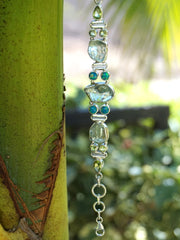 Green Amethyst Quartz and Fire Opal Bracelet 1 with Peridot