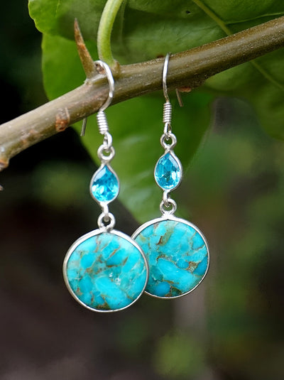 Copper Turquoise Blue Earring Set 1 with Blue Topaz