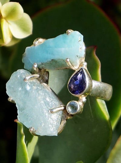 Garden Beauty Ring 8 with Larimar, Aquamarine and Tanzanite