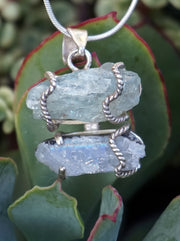 Aquamarine Rough Pendant 3 with Moonstone