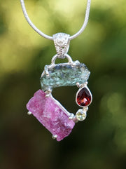 Garden Beauty Pendant 1 with Moldavite and Pink Tourmaline