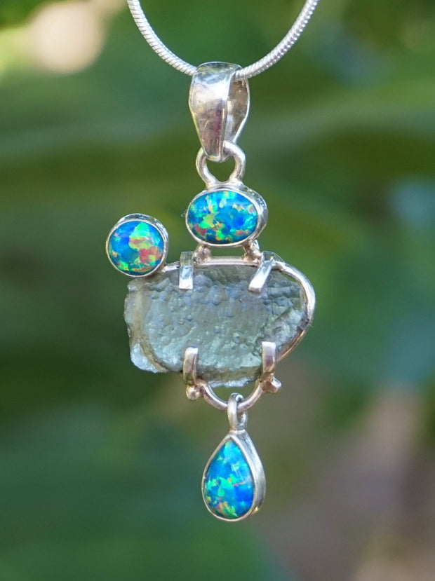 Moldavite Pendant 5 with Fire Opals