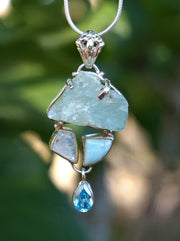 Aquamarine Rough Pendant 4 with Larimar and Moonstone